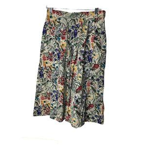 Vintage Geiger Collections White Floral Midi Skirt